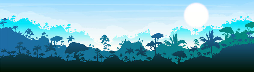 Jungle flat color vector illustration. Blue forest scenery. Bright panoramic woods. Tropical scenic nature. Idyllic environment. Rainforest 2D cartoon landscape with layers on background Papier Peint