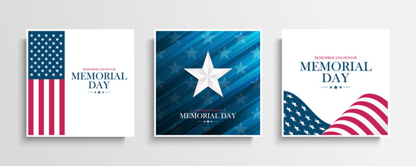 USA Memorial Day greeting cards collection with Silver Star and United States national flag. Remember and honor. United States national holiday vector illustration.
