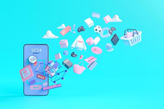Shopping on-line. Online store on website or mobile application. 3d rendering background. digital marketing shop concept.