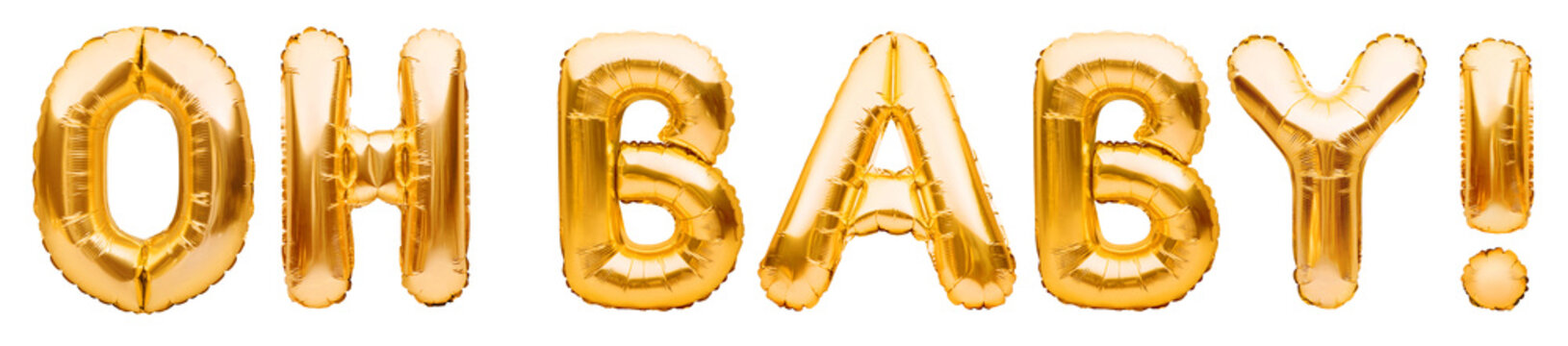 Words OH BABY made of golden inflatable balloons isolated on white background. Helium foil balloons forming text. Baby shower, birthday party celebrating decoration.