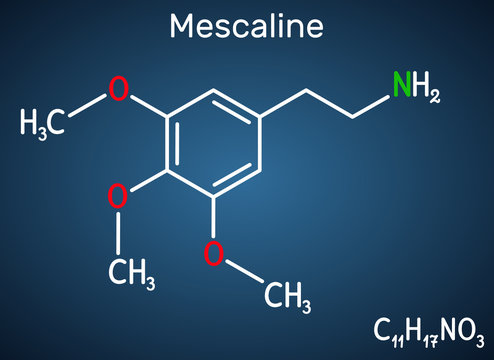 Mescaline molecule. It is hallucinogenic, psychedelic,  phenethylamine alkaloid. Structural chemical formula on the dark blue background