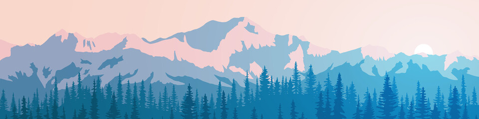 Vector illustration of mountains, ridge in the morning haze, panoramic view. Trees against the setting sun. Fototapete