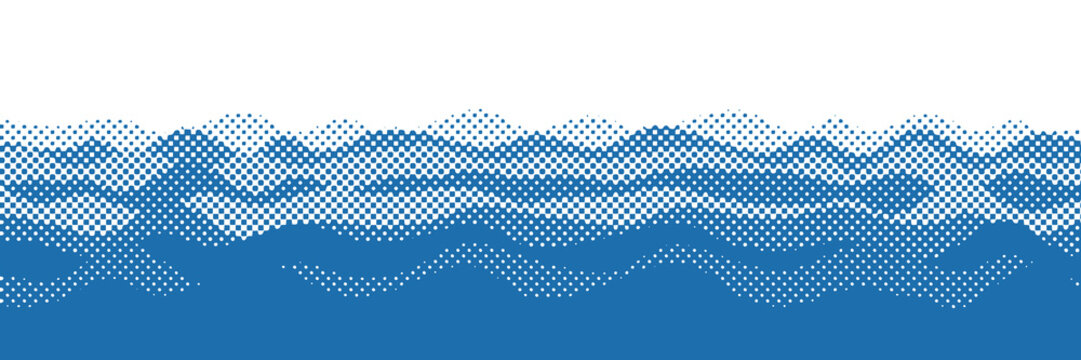 Vector drawing of waves on the sea, natural background, abstraction