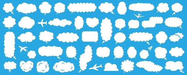 雲形の白黒吹き出しセット Fototapete