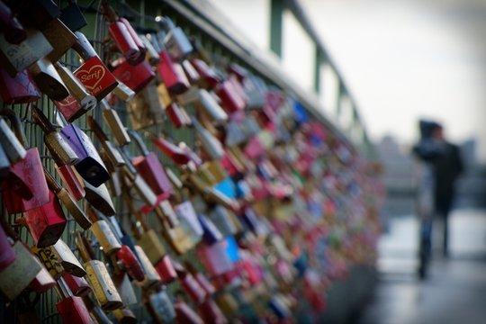 Padlocks Of Love On Bridge