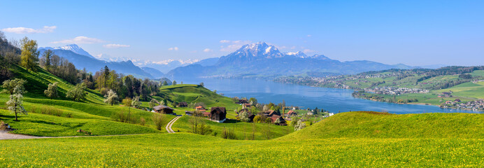 Lake Lucerne and Mount Pilatus in spring time, Switzerland