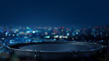 Platform Product showcase background, empty space night lights Fototapete