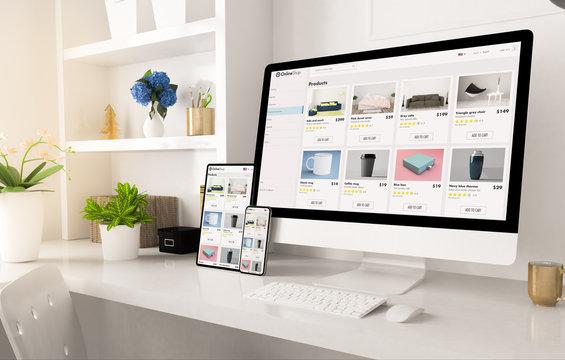 online shop website on home office setup