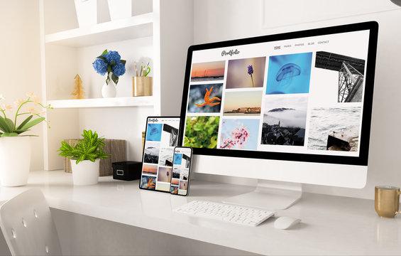 portfolio website on home office setup