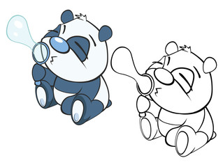 Foto op Textielframe Babykamer Vector Illustration of a Cute Cartoon Character Panda for you Design and Computer Game. Coloring Book Outline Set
