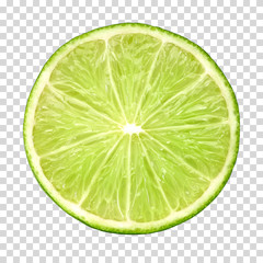 Half slice lime on isolated background including clipping path