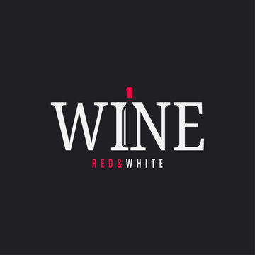 Wine logo with wine bottle on black background