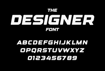 Fotomurales - Designer letters and numbers set. Bold italic style alphabet. Font for events, promotions, logos, banner, monogram and poster. Vector typography design