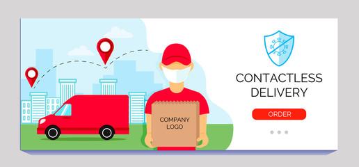 Safe delivery service. Banner food online order. Vector illustration for your business.