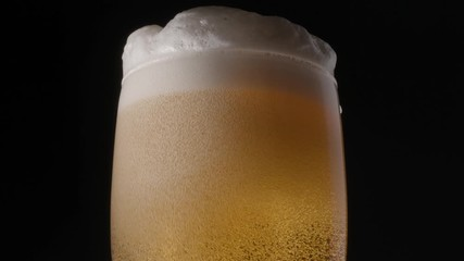 Wall Mural - Glass of light beer on a black background. Bubbles and foam slowly climb to the top up the beer glass. Clockwise rotation.