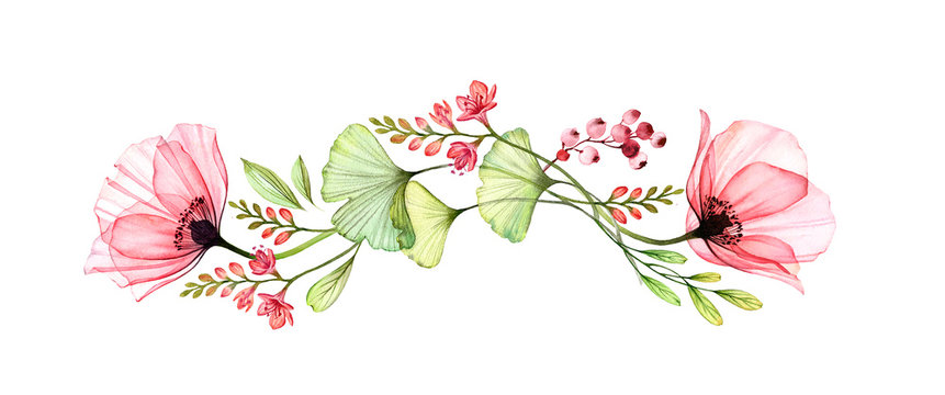 Watercolor floral border. Horizontal design element. Two big poppy flowers with exotic fresia and gingko isolated on white. Botanical illustration for cards, wedding design, cosmetics
