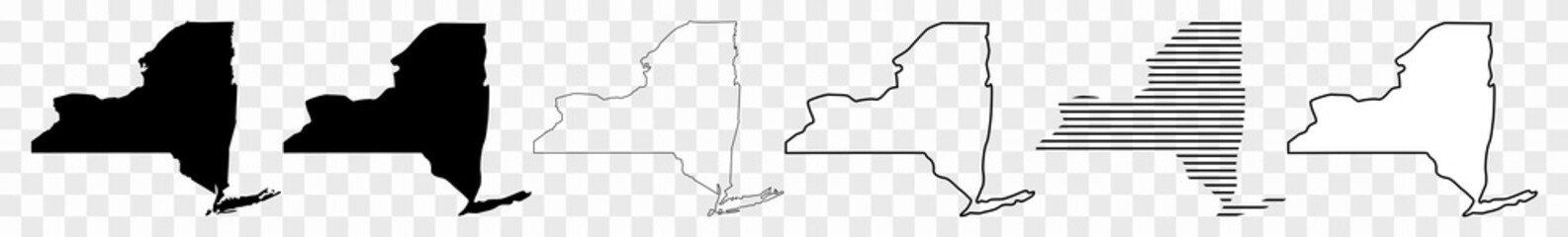 New York Map Black | State Border | United States | US America | Transparent Isolated | Variations Fotobehang