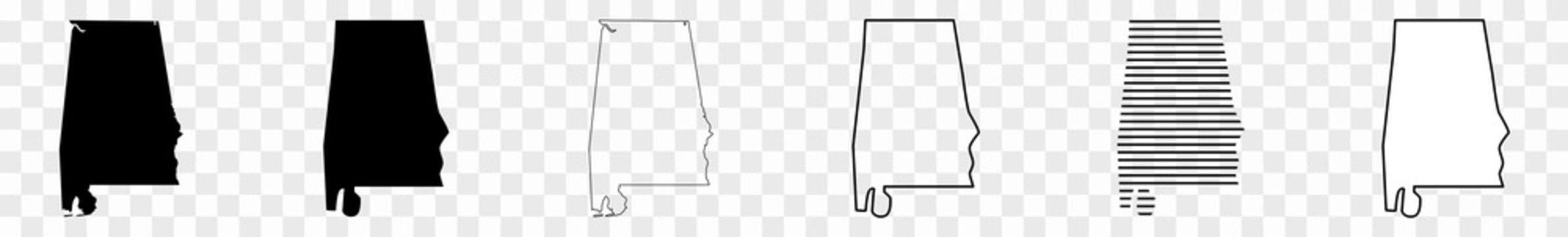 Alabama Map Black | State Border | United States | US America | Transparent Isolated | Variations