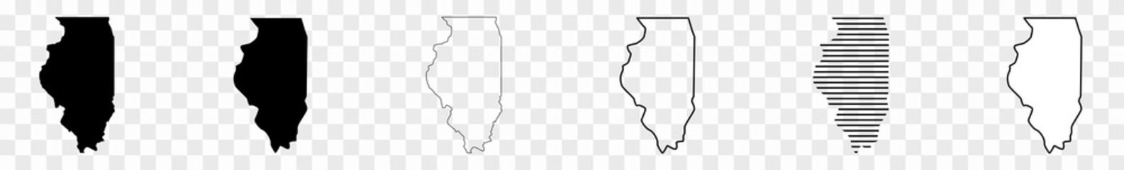 Illinois Map Black | State Border | United States | US America | Transparent Isolated | Variations