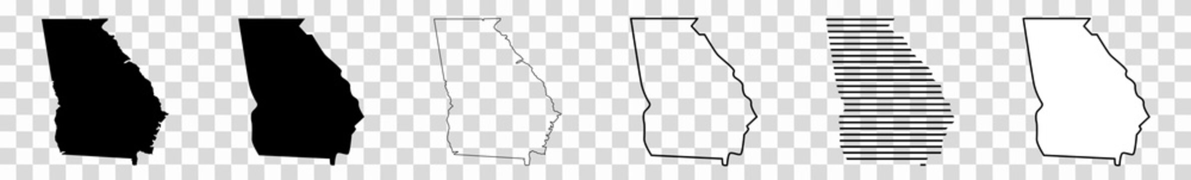 Georgia Map Black | State Border | United States | US America | Transparent Isolated | Variations