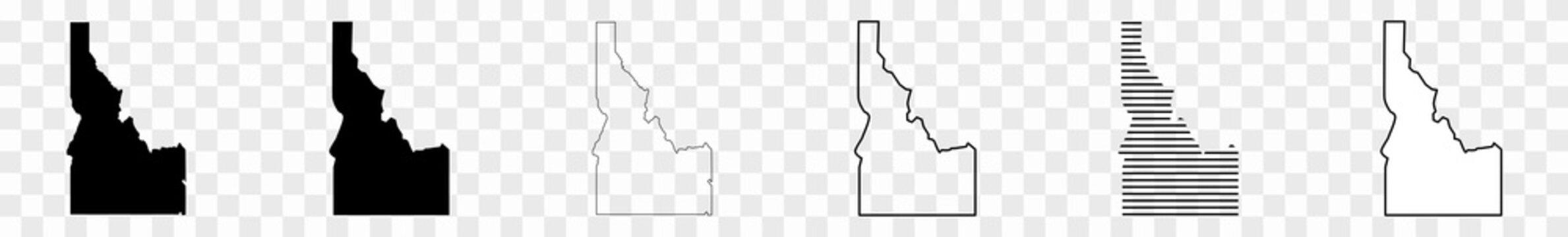 Idaho Map Black | State Border | United States | US America | Transparent Isolated | Variations
