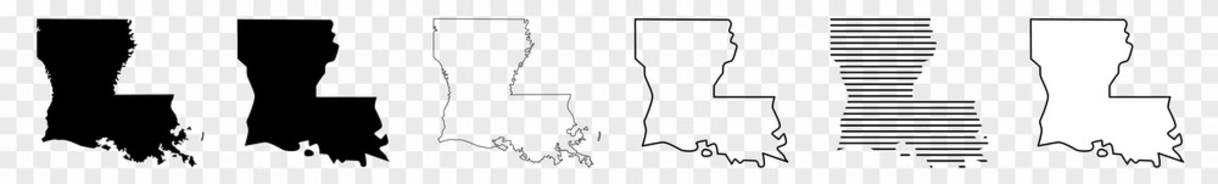 Louisiana Map Black | State Border | United States | US America | Transparent Isolated | Variations