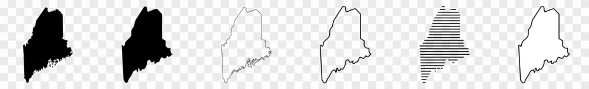 Maine Map Black | State Border | United States | US America | Transparent Isolated | Variations