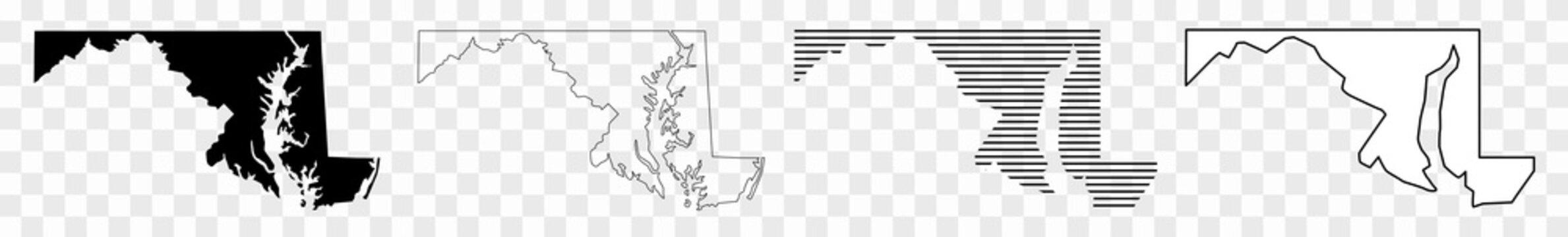Maryland Map Black | State Border | United States | US America | Transparent Isolated | Variations