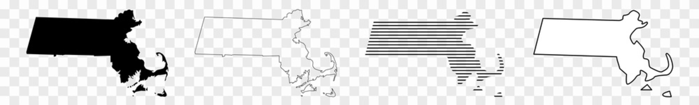 Massachusetts Map Black | State Border | United States | US America | Transparent Isolated | Variations