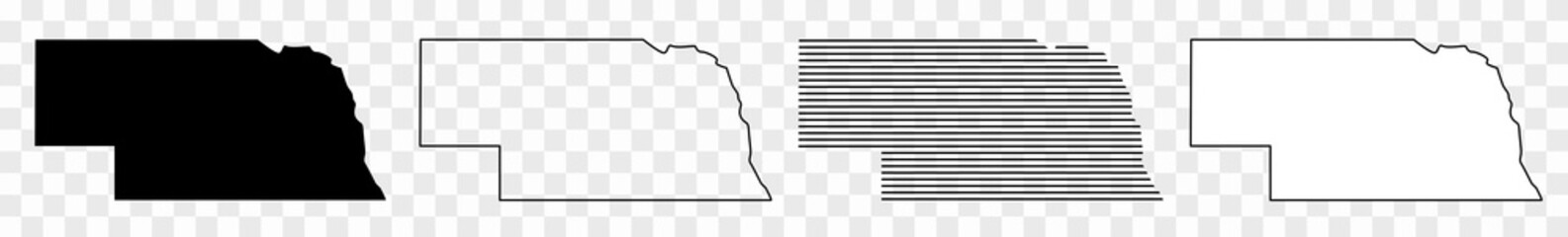 Nebraska Map Black | State Border | United States | US America | Transparent Isolated | Variations