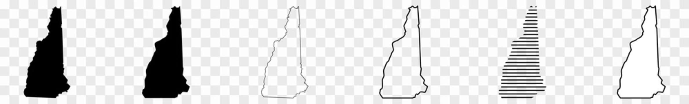 New Hampshire Map Black | State Border | United States | US America | Transparent Isolated | Variations