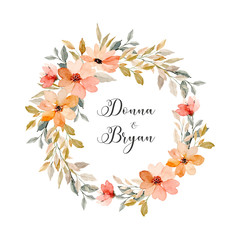 save the date. soft pink watercolor floral wreath