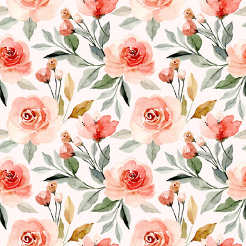 watercolor floral blossom seamless pattern