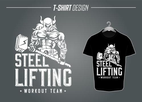 Viking Muskeln Bodybuilding Thor Odin T-Shirt Workout Hantel Gym Motivation Wikinger Beast t shirt Fitness Vektor
