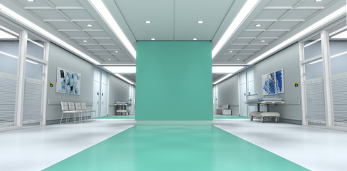 Green hospital with copy space Fotomurales