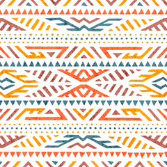 Cute summer tribal pattern. Colorful print in boho style. Ethnic and tribal motifs. Hand-drawn geometric ornament on a white background. Grunge texture. Vector illustration.