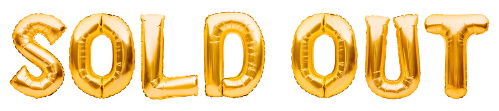 Words SOLD OUT made of golden inflatable balloons isolated on white background. Helium balloons gold foil forming words, sold out banner. Discount and advertisement