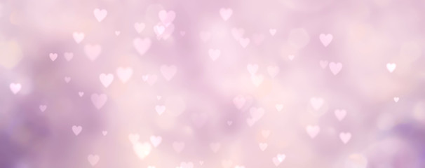 Fototapete - Abstract pink and purple  background with hearts - concept Mother's Day, Valentine's Day, Birthday - spring colors