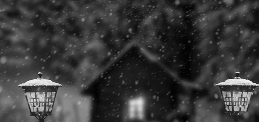 Fotomurales - winter with house lanterns in snowfall at moon night. black and white