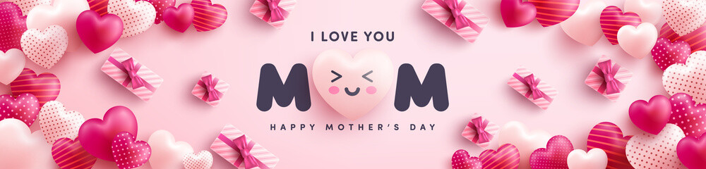 Mother's Day Poster or banner with many sweet hearts and on red background.Promotion and shopping template or background for Love and Mother's day concept.Vector illustration eps 10 Fotomurales