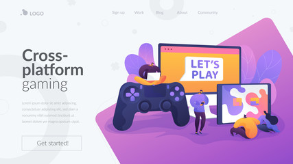 Cross-platform play, cross-play, cross-platform gaming on different video game hardware concept. Website homepage header landing web page template. Fotomurales