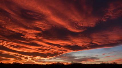 Red sunset Fotobehang