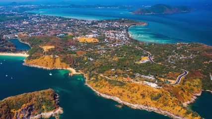 Wall Mural - Aerial hyperlapse of Phuket island. Flight over Rawai district - southernmost area of the island. Thailand