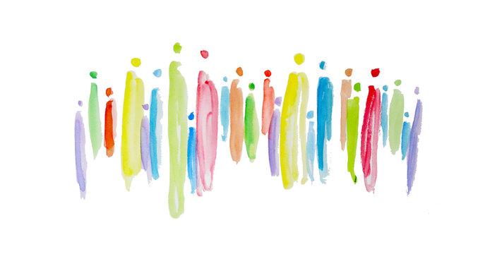 Gruppe von Menschen als Mischung und Abbild der Gesellschaft, Gemeinwohl in der Zukunft schaffen, gemeinsam handeln, Grundeinkommen, Existenzsicherung, Solidarität, heterogene Gruppe, Zusammensetzung