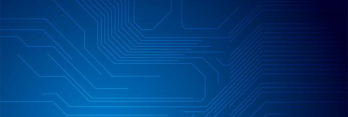 Fotobehang - Dark blue circuit board chip lines tech background. Technology vector banner design