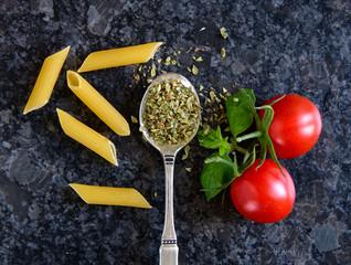 Oregano with pasta and tomato