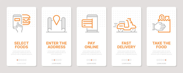 Food delivery related vertical cards. Mobile app onboarding screens. Templates for a website. Icons with editable stroke Fototapete
