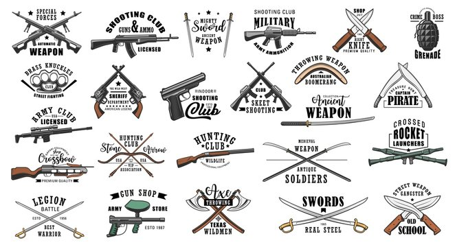 Guns and military weapon shop vector icons and symbols. Hunting ammunition rifles, crossbows and knives, saber and boomerang, brass knuckles, axe and grenade, shotgun and sword, machete or dagger