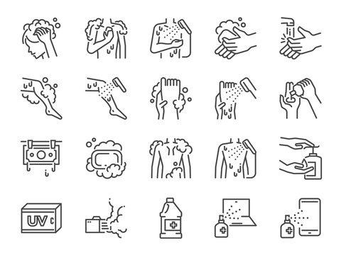 Body wash line icon set. Included icons as wash, hair washing, cleaning, hand scrub, soap,body bath, shower and more.