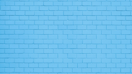 Texture of a blue painted brick wall as a background or wallpaper